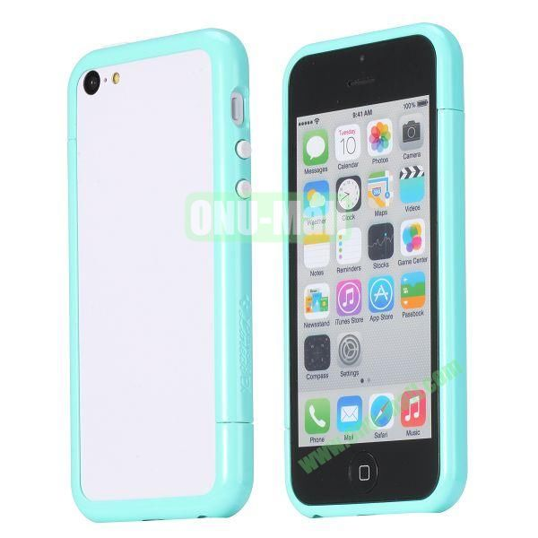 Glossy Plastic Detachable Bumper Frame Case for iPhone 5C (Light Blue)