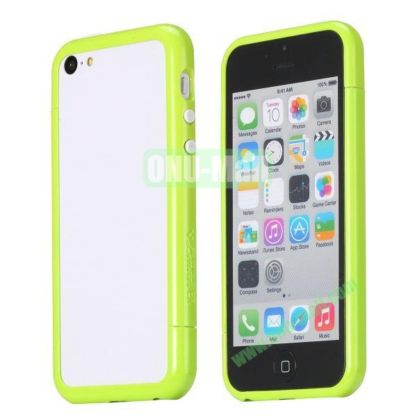 Glossy Plastic Detachable Bumper Frame Case for iPhone 5C (Green)