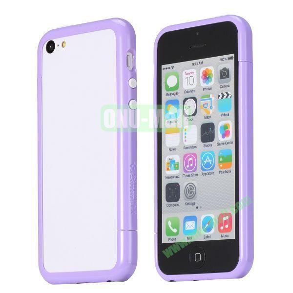 Glossy Plastic Detachable Bumper Frame Case for iPhone 5C (Purple)