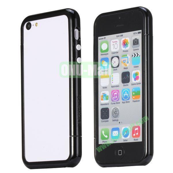 Glossy Plastic Detachable Bumper Frame Case for iPhone 5C (Black)