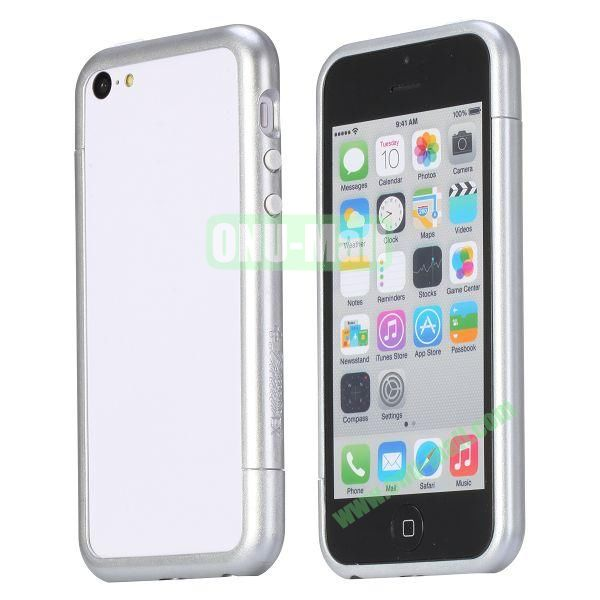 Glossy Plastic Detachable Bumper Frame Case for iPhone 5C (Silver)