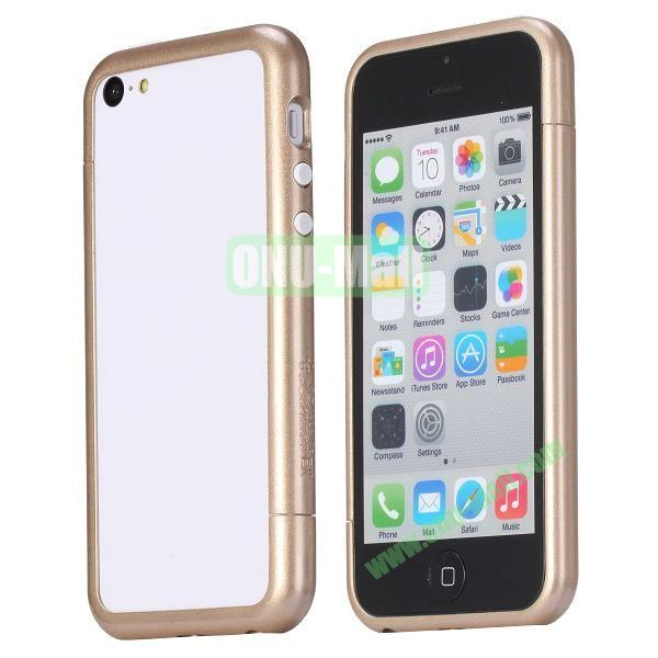 Glossy Plastic Detachable Bumper Frame Case for iPhone 5C (Gold)