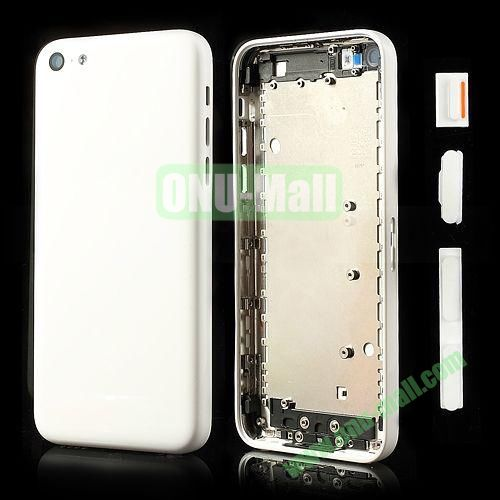 Back Cover Replacement Spare Parts for iPhone 5C With Side Buttons (White)