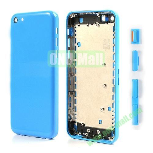 Back Cover Replacement Spare Parts for iPhone 5C With Side Buttons (Blue)