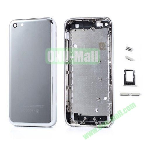 Diamante Edges Back Battery Housing Cover Replacement for iPhone 5C with Sim Tray +Mute Button + Power Button + Volume Button (Silver)