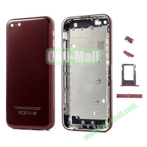Diamante Edges Back Battery Housing Cover Replacement for iPhone 5C with Sim Tray +Mute Button + Power Button + Volume Button (Red)