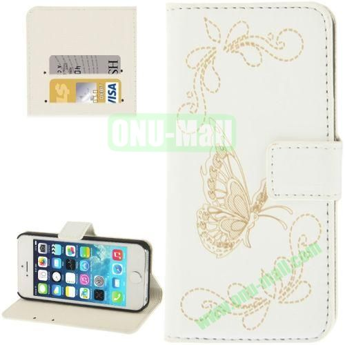 Butterfly Pattern Leather Case with Credit Card Slots & Holder for iPhone 5 & 5S (White)