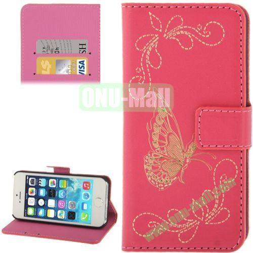 Butterfly Pattern Leather Case with Credit Card Slots & Holder for iPhone 5 & 5S (Rose)