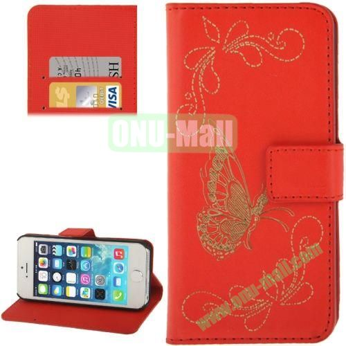 Butterfly Pattern Leather Case with Credit Card Slots & Holder for iPhone 5 & 5S (Red)