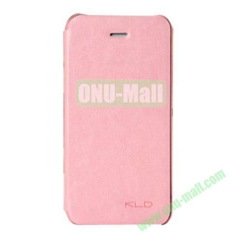 KLD Enland Series Side Flip Leather Case Cover for iPhone 5C (Pink)