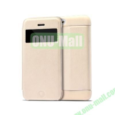 KLD KA Series S View Flip Leather Case Cover for iPhone 5C (White)