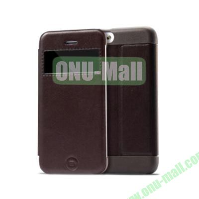 KLD KA Series S View Flip Leather Case Cover for iPhone 5C (Dark Brown)