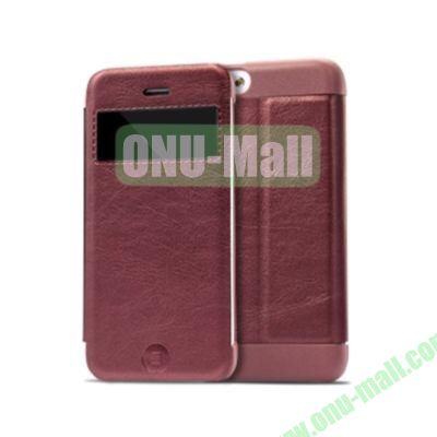 KLD KA Series S View Flip Leather Case Cover for iPhone 5C (Dark Red)