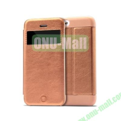 KLD KA Series S View Flip Leather Case Cover for iPhone 5C (Coffee)