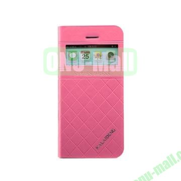 KLD Dress Series Caller ID Display Window  Flip Stand Leather Case for iPhone 5S 5 (Rose)