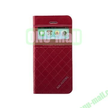 KLD Dress Series Caller ID Display Window  Flip Stand Leather Case for iPhone 5S 5 (Dark Red)