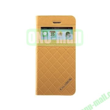 KLD Dress Series Caller ID Display Window  Flip Stand Leather Case for iPhone 5S 5 (Yellow)