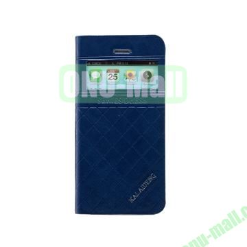 KLD Dress Series Caller ID Display Window  Flip Stand Leather Case for iPhone 5S 5 (Dark Blue)