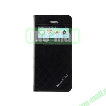 KLD Dress Series Caller ID Display Window  Flip Stand Leather Case for iPhone 5C (Black)