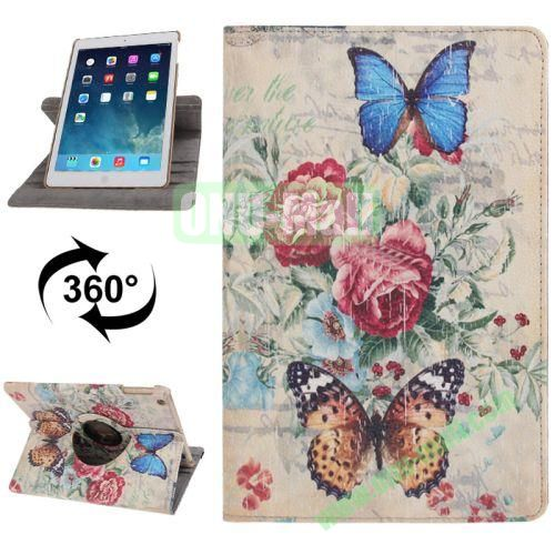 360 Degree Rotation Retro Style Leather Case with 3 Gears Holder for iPad Air