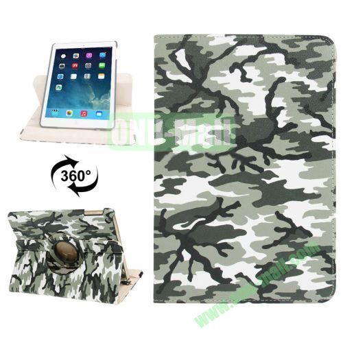 360 Degree Rotation Camouflage Pattern Leather Case with 2 Gears Holder for iPad Air (Green)