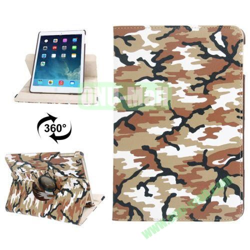360 Degree Rotation Camouflage Pattern Leather Case with 2 Gears Holder for iPad Air (Yellow)