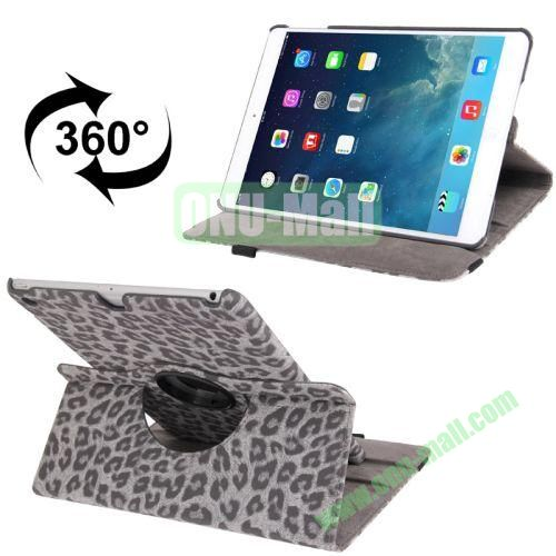 360 Degree Rotation Leopard Texture Leather Case with 2 Gears Holder for iPad Air (Grey)