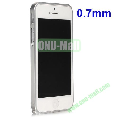 0.7mm Metal Aluminum Bumper Case for iPhone 5S & 5 (Silver)