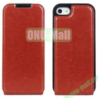 Crazy Horse Texture Open Up And Down Flip Leather Case for iPhone 5S5 (Brown)