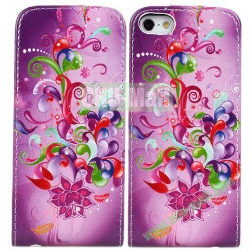 Dazzle Colour Flowers Pattern Vertical Flip Leather Case for iPhone 5S5