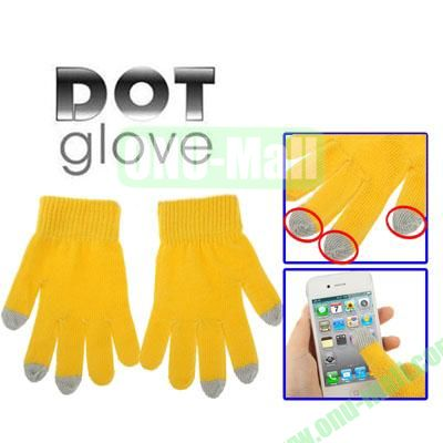 Dot Gloves of Touch Screen for iPhone 5, iPhone 4 & 4S  iPad  iPod Touch, BlackBerry, HTC and other Touch Screen Mobile Phones (Yellow)