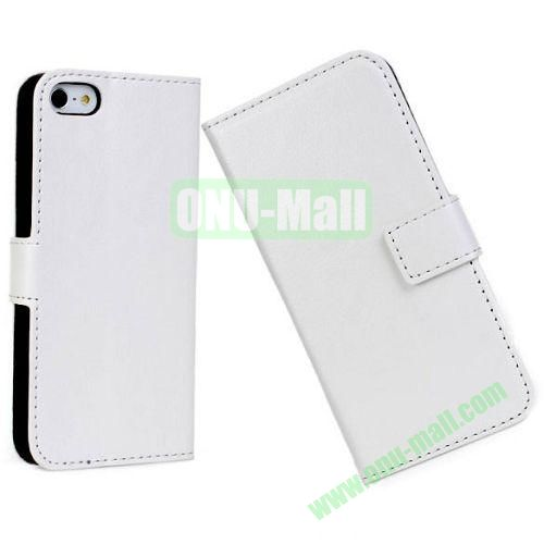 Crazy Horse Texture Leather Case with Card Slots and Stand for iPhone 5S5 (White)