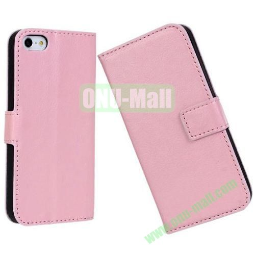 Crazy Horse Texture Leather Case with Card Slots and Stand for iPhone 5S5 (Pink)