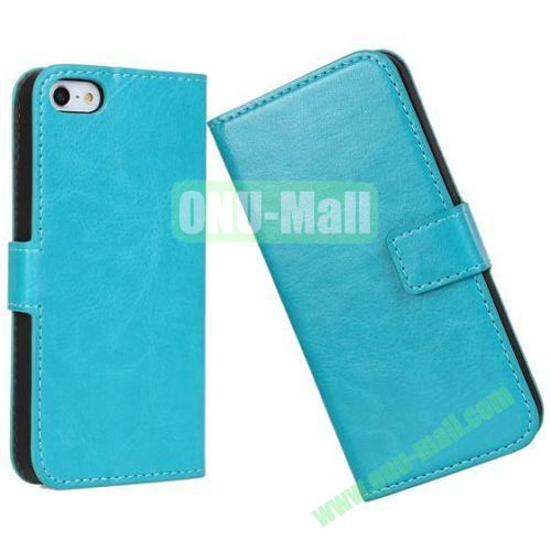 Crazy Horse Texture Leather Case with Card Slots and Stand for iPhone 5S5 (Light Blue)