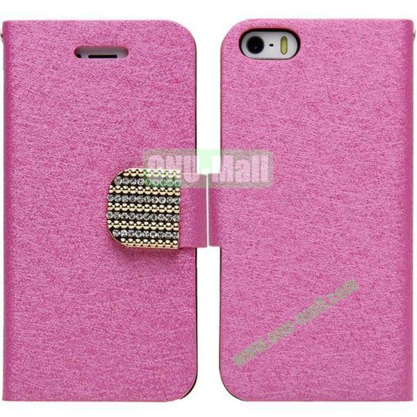 Silk Texture Leather Case with Card Slots and Holder for iPhone 5S5 (Rose)
