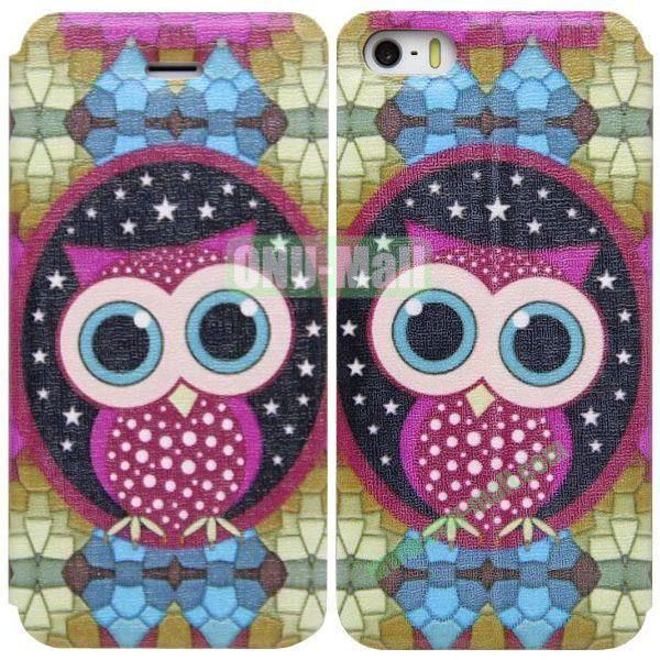 Owl Pattern Leather Case with Stand for iPhone 5S5