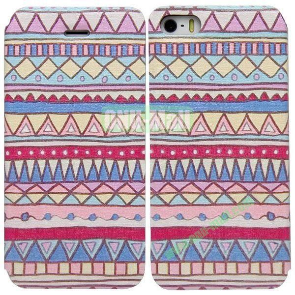 Tribal Pattern Leather Case with Stand for iPhone 5S5