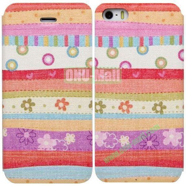 Colorful Pattern Leather Case with Stand for iPhone 5S5