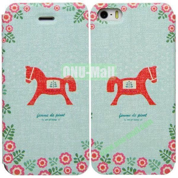 Horse Pattern Leather Case with Stand for iPhone 5S5