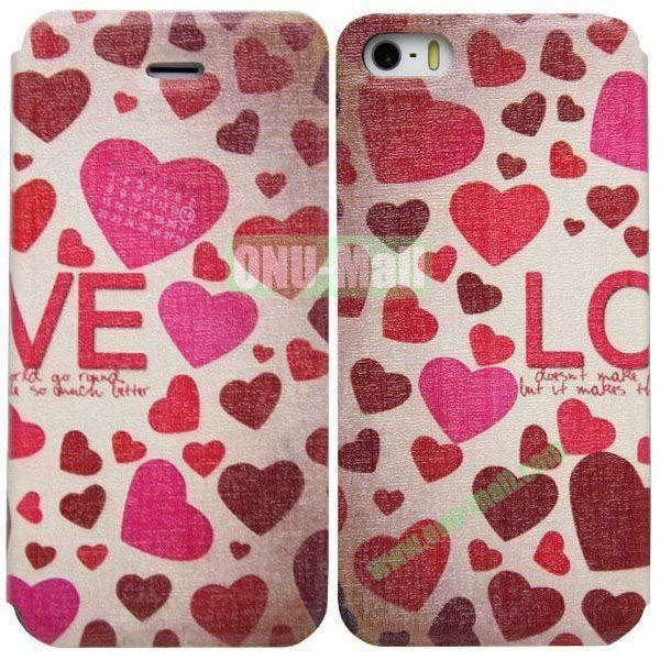 Heart Pattern Leather Case with Stand for iPhone 5S5