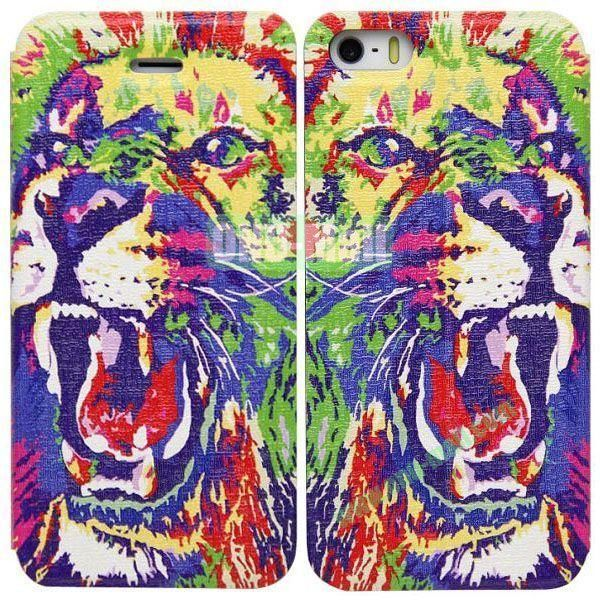 Tiger Pattern Leather Case with Stand for iPhone 5S5