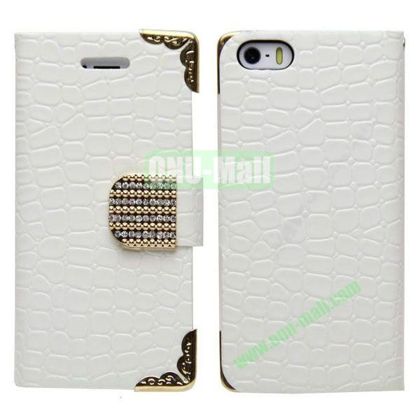Crocodile Skin Pattern Leather Case for iPhone 5S5 with Card Slots and Stand (White)
