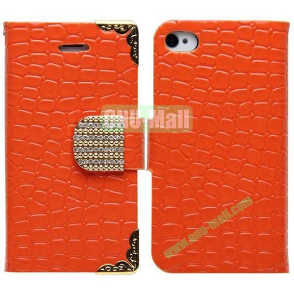Crocodile Skin Pattern Leather Case for iPhone 5S5 with Card Slots and Stand (Orange)