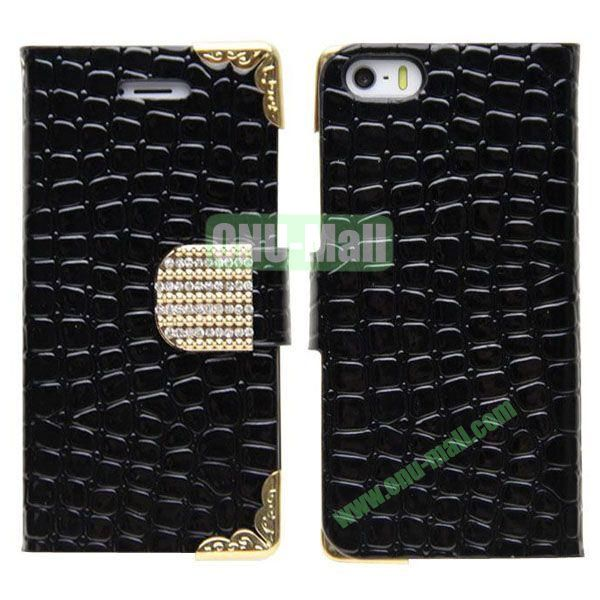 Crocodile Skin Pattern Leather Case for iPhone 5S5 with Card Slots and Stand (Black)