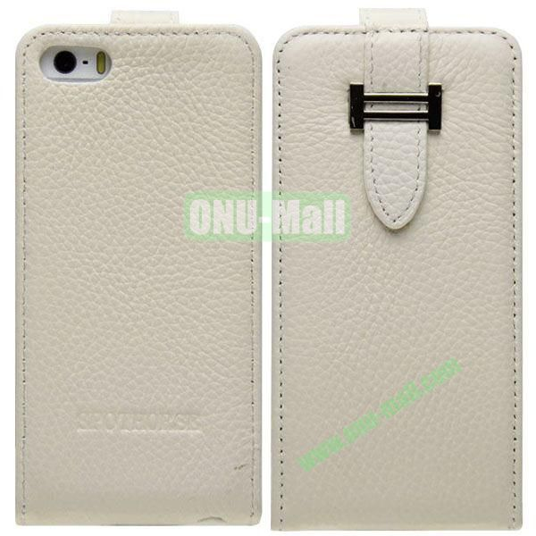 Litch Texture Flip Leather Cover for iPhone 55S5C with Credit Card Slots and Buckle(White)