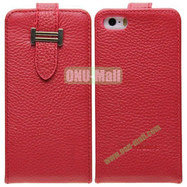 Litch Texture Flip Leather Cover for iPhone 55S5C with Credit Card Slots and Buckle(Red)