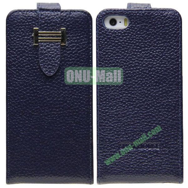 Litch Texture Flip Leather Cover for iPhone 55S5C with Credit Card Slots and Buckle(Dark Blue)