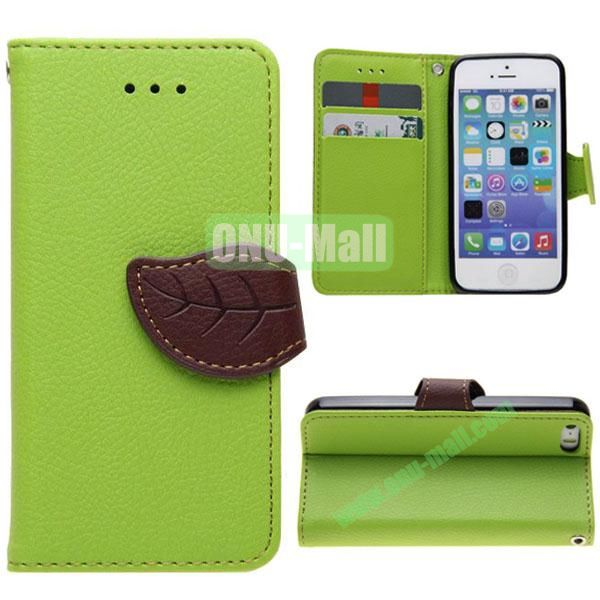 Leaf Shape Buckle Litchi Texture Leather Case for iPhone 5S5 with Card Slots and Holder & Belt (Green)