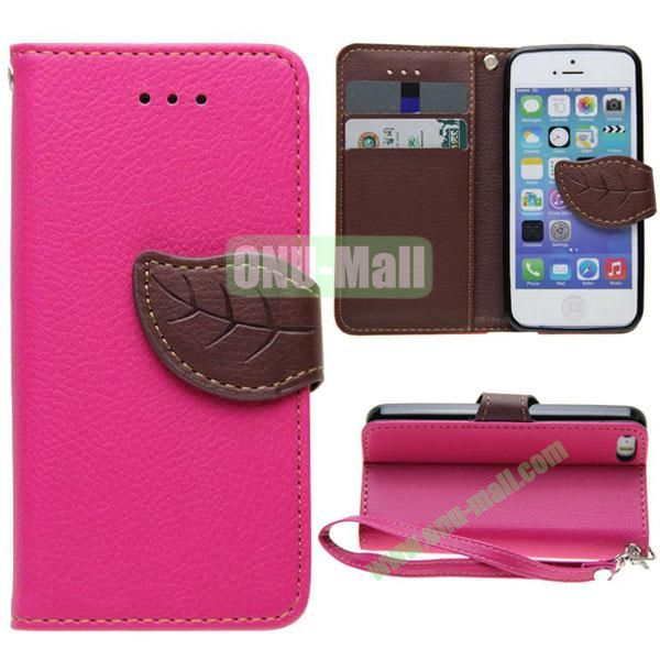 Leaf Shape Buckle Litchi Texture Leather Case for iPhone 5S5 with Card Slots and Holder & Belt (Rose)