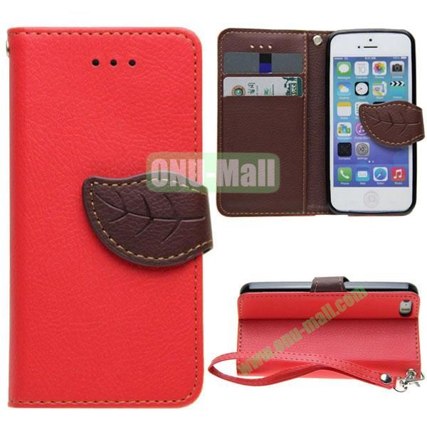 Leaf Shape Buckle Litchi Texture Leather Case for iPhone 5S5 with Card Slots and Holder & Belt (Red)
